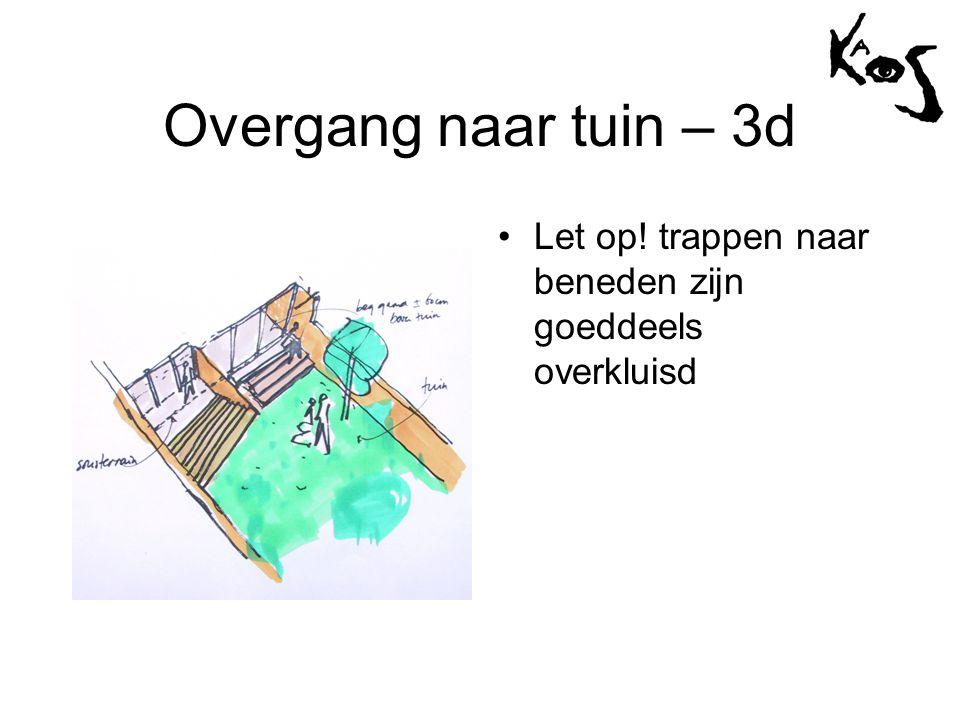 Overgang naar tuin – 3d •Let op! trappen naar beneden zijn goeddeels overkluisd