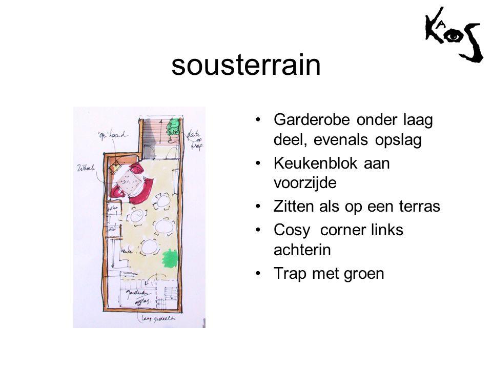 sousterrain •Garderobe onder laag deel, evenals opslag •Keukenblok aan voorzijde •Zitten als op een terras •Cosy corner links achterin •Trap met groen