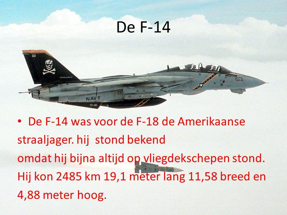 De F-14 • De F-14 was voor de F-18 de Amerikaanse straaljager. hij stond bekend omdat hij bijna altijd op vliegdekschepen stond. Hij kon 2485 km 19,1