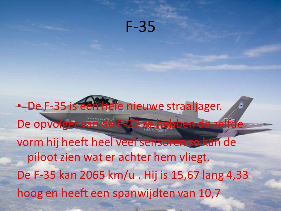 F-35 • De F-35 is een hele nieuwe straaljager. De opvolger van de F-22 ze hebben de zelfde vorm hij heeft heel veel sensoren zo kan de piloot zien wat