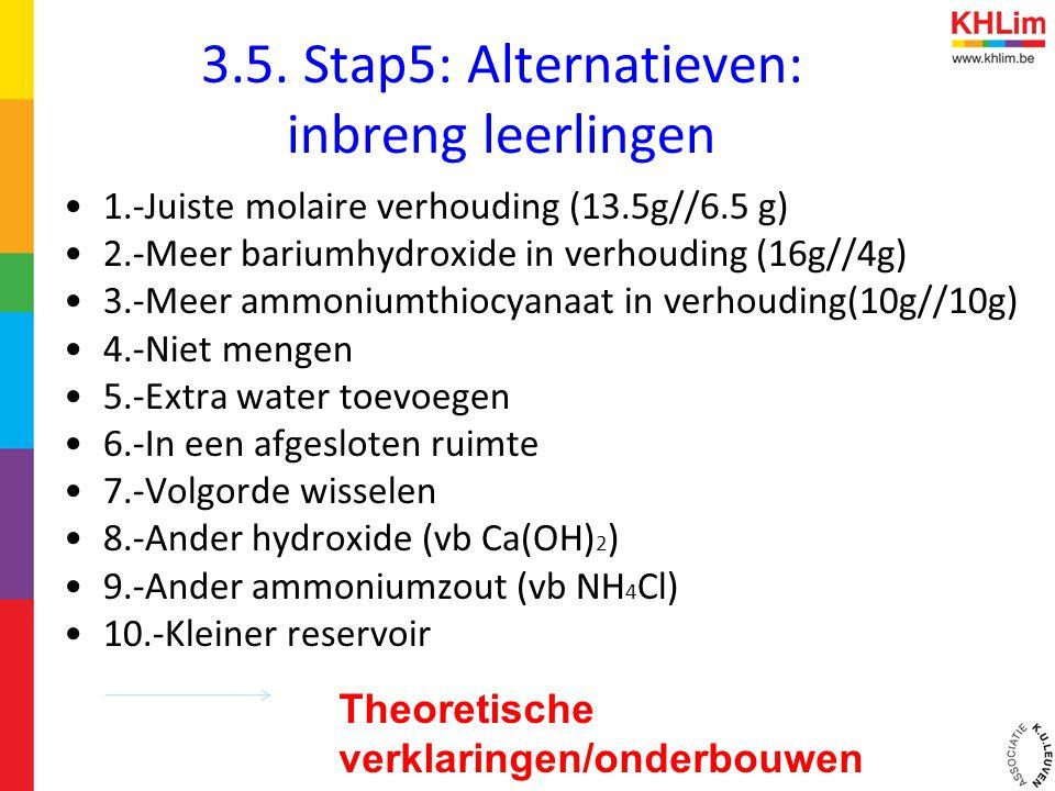 3.5. Stap5: Alternatieven: inbreng leerlingen •1.-Juiste molaire verhouding (13.5g//6.5 g) •2.-Meer bariumhydroxide in verhouding (16g//4g) •3.-Meer a