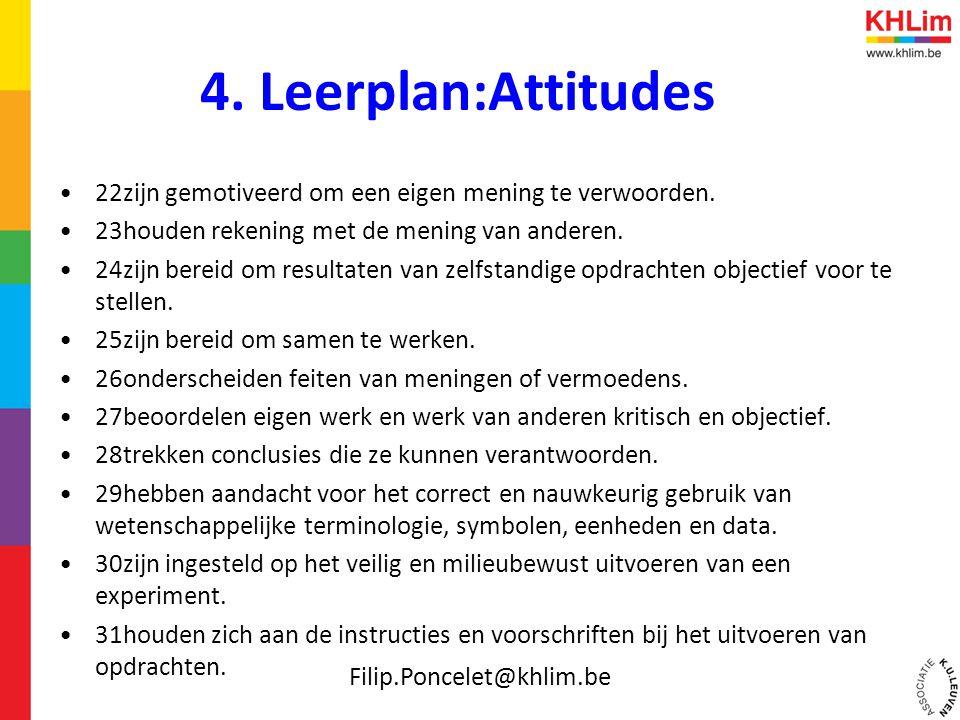 4. Leerplan:Attitudes •22zijn gemotiveerd om een eigen mening te verwoorden. •23houden rekening met de mening van anderen. •24zijn bereid om resultate