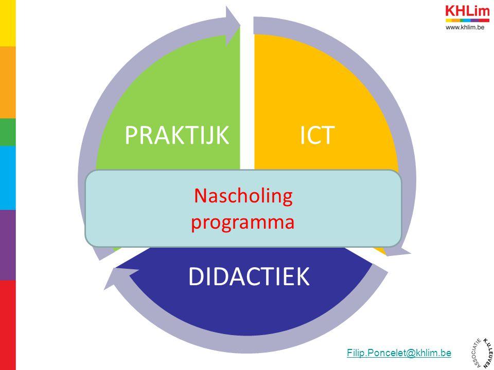 ICT DIDACTIEK PRAKTIJK Nascholing programma Filip.Poncelet@khlim.be