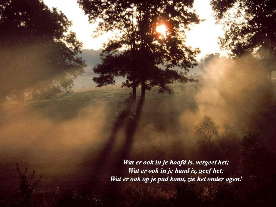 Wat er ook in je hoofd is, vergeet het; Wat er ook in je hand is, geef het; Wat er ook op je pad komt, zie het onder ogen!