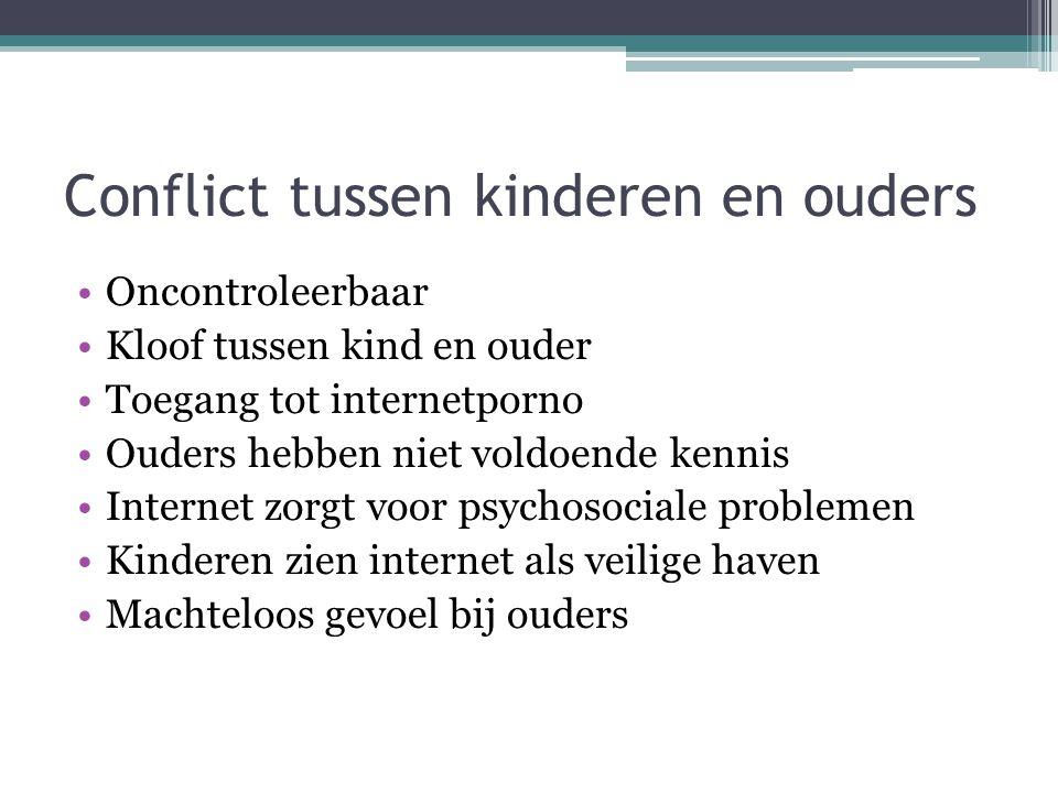 Conflict tussen kinderen en ouders •Oncontroleerbaar •Kloof tussen kind en ouder •Toegang tot internetporno •Ouders hebben niet voldoende kennis •Inte
