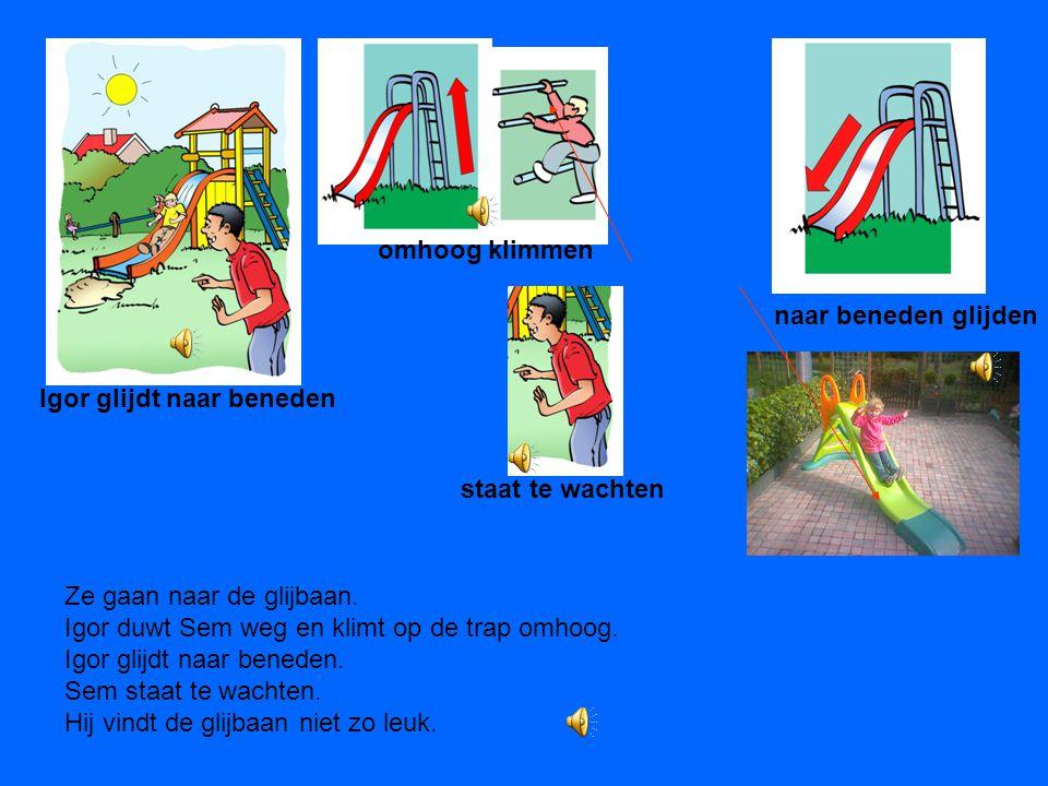 Het is woensdagmiddag. Sem en Igor hoeven niet naar school. Ze zijn in de speeltuin. Ze zien de hoge glijbaan en ze zien de kinderen naar beneden glij