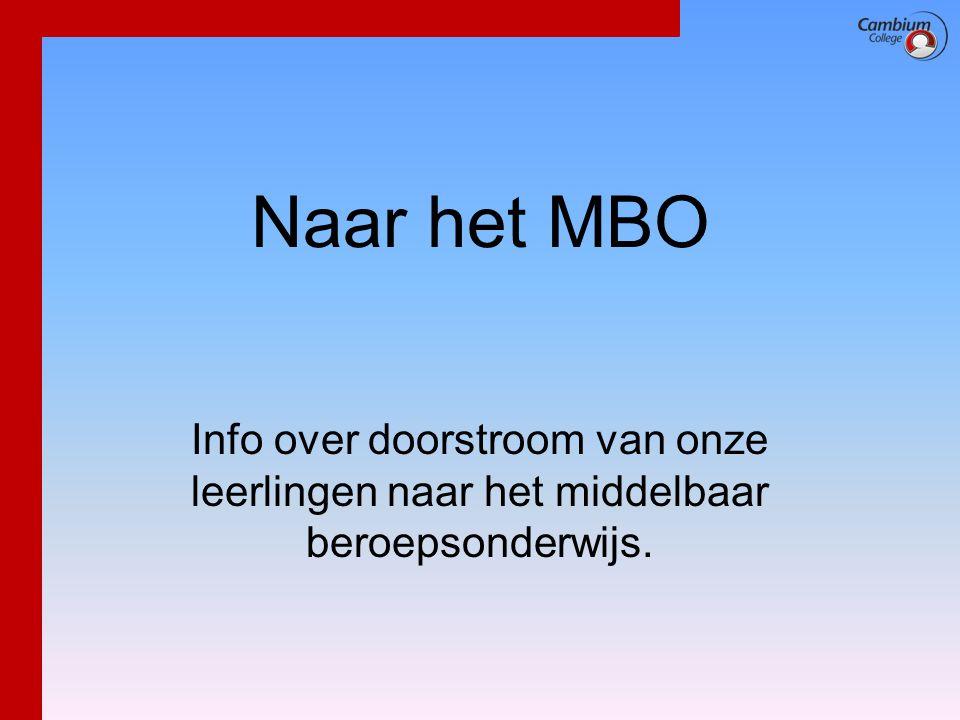 Naar het MBO Info over doorstroom van onze leerlingen naar het middelbaar beroepsonderwijs.