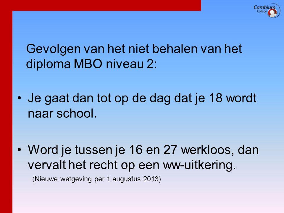 Gevolgen van het niet behalen van het diploma MBO niveau 2: •Je gaat dan tot op de dag dat je 18 wordt naar school. •Word je tussen je 16 en 27 werklo