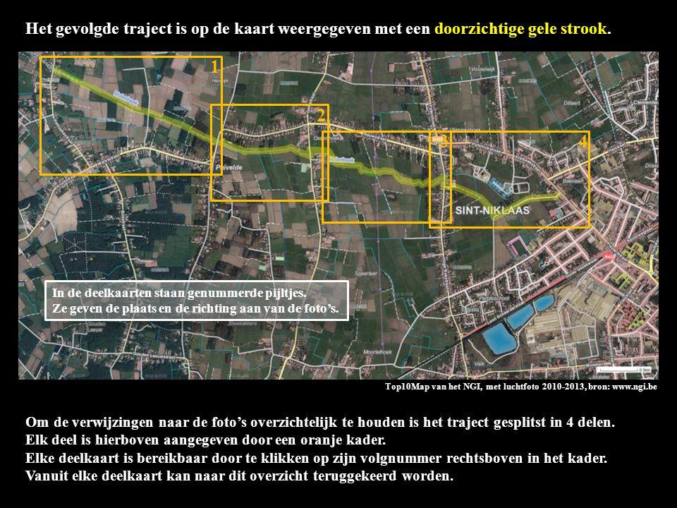Top10Map van het NGI, met luchtfoto 2010-2013, bron: www.ngi.be Het gevolgde traject is op de kaart weergegeven met een doorzichtige gele strook.