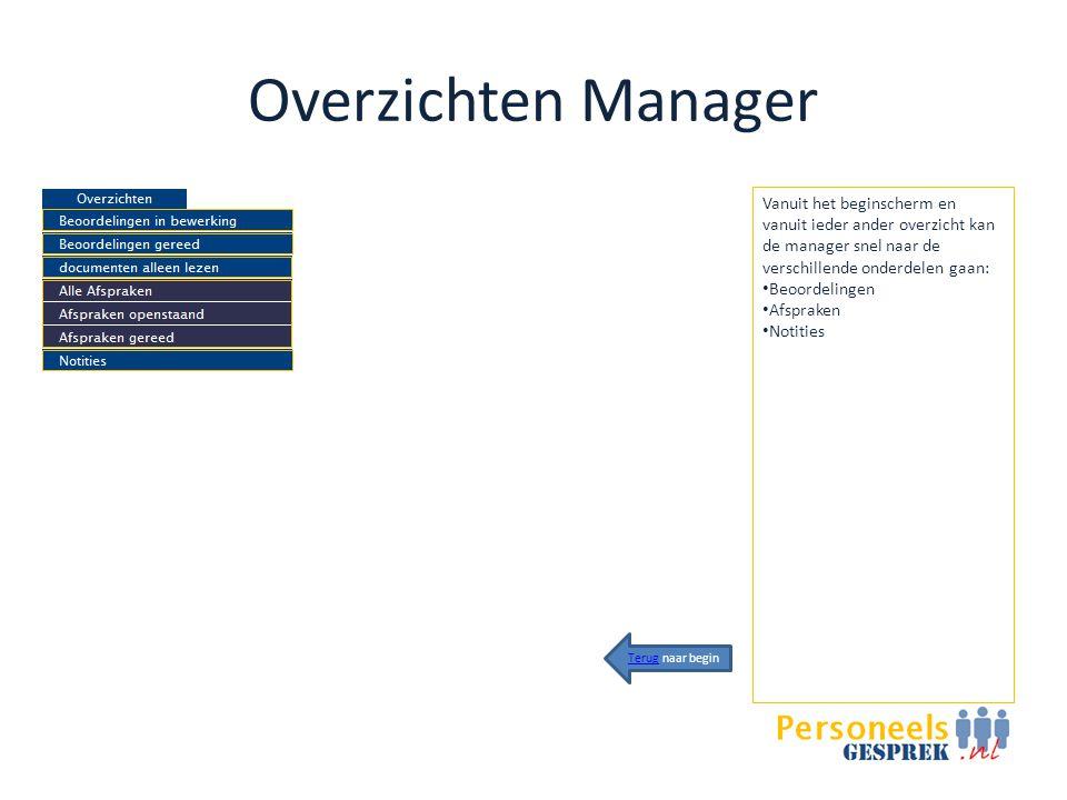 Overzichten Manager Vanuit het beginscherm en vanuit ieder ander overzicht kan de manager snel naar de verschillende onderdelen gaan: • Beoordelingen • Afspraken • Notities TerugTerug naar begin