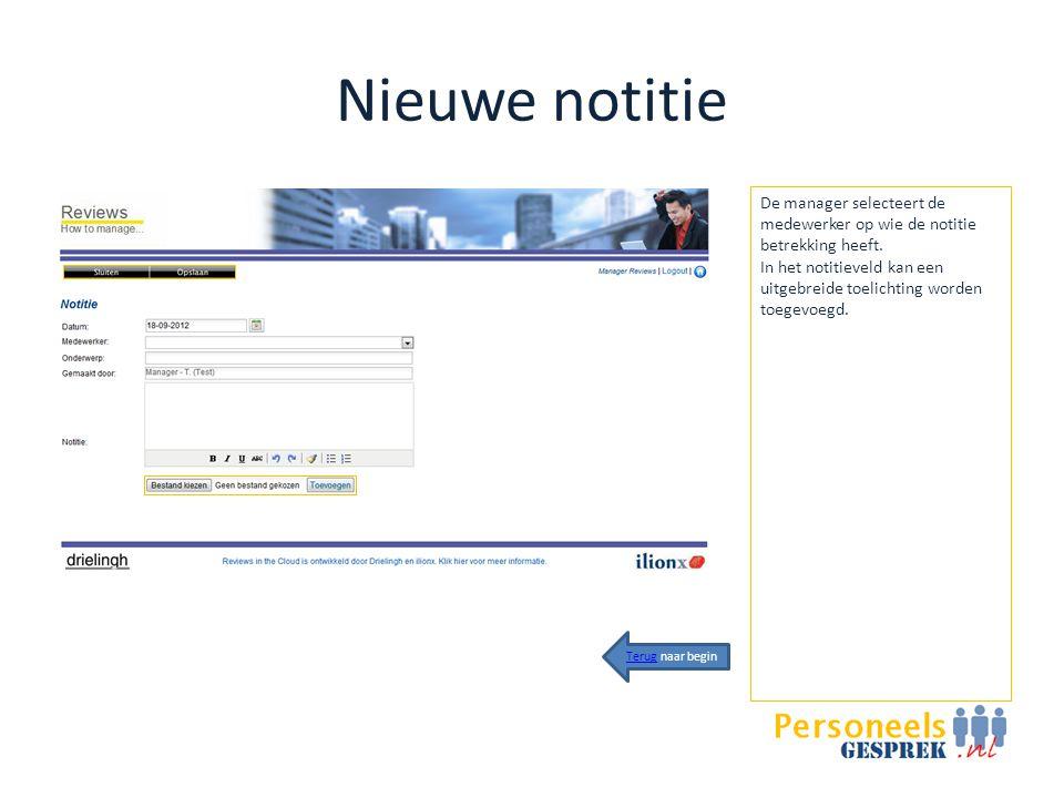 Nieuwe notitie De manager selecteert de medewerker op wie de notitie betrekking heeft.