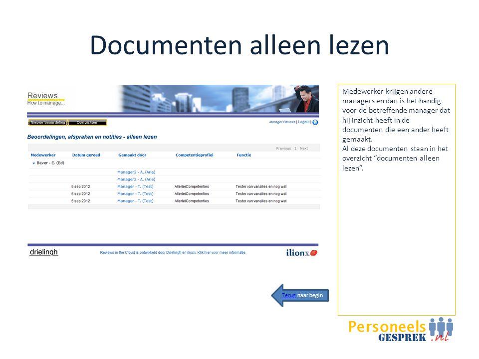 Documenten alleen lezen Medewerker krijgen andere managers en dan is het handig voor de betreffende manager dat hij inzicht heeft in de documenten die een ander heeft gemaakt.