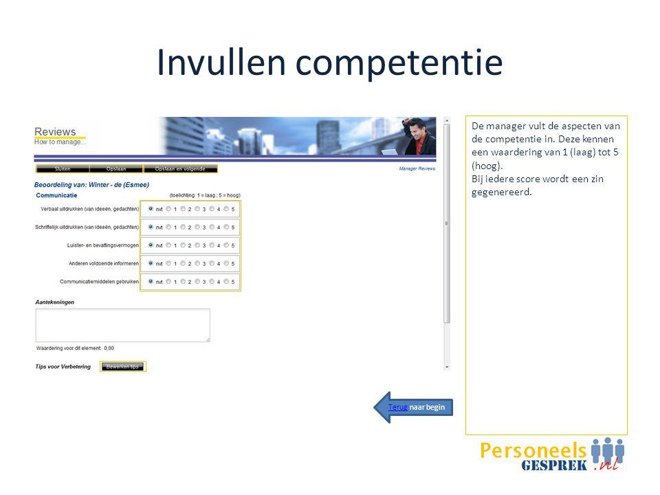 Invullen competentie De manager vult de aspecten van de competentie in.