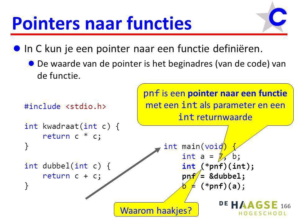 pnf wijst naar de functie dubbel ( pnf wordt gelijk aan het adres van de functie dubbel ) 167 Pointers naar functies  In C kun je een pointer naar een functie definiëren.