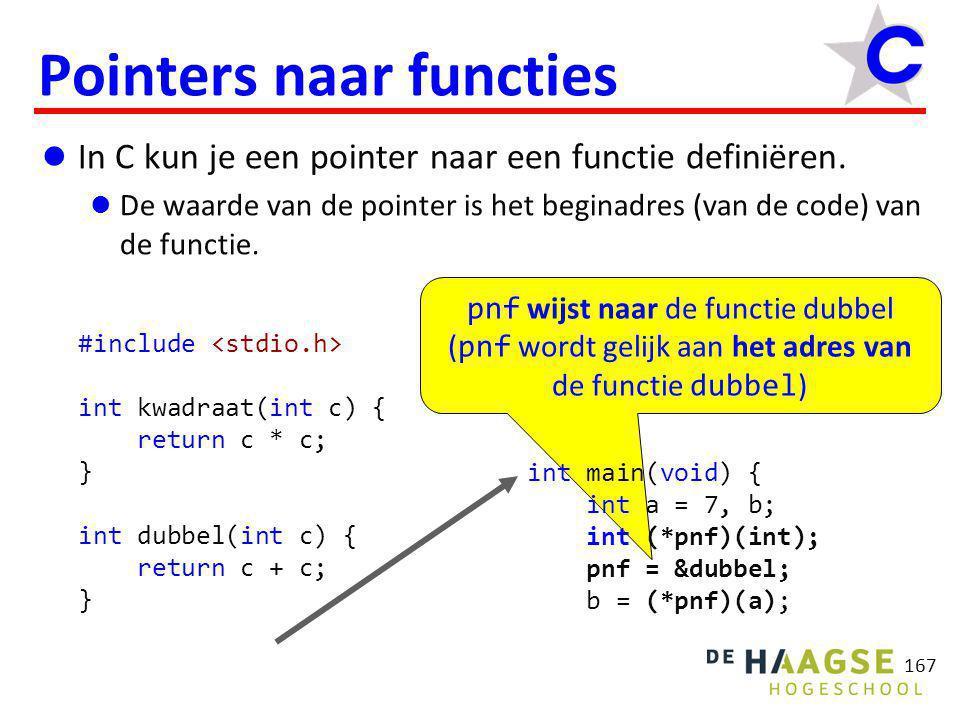 pnf wijst naar de functie dubbel ( pnf wordt gelijk aan het adres van de functie dubbel ) 167 Pointers naar functies  In C kun je een pointer naar ee