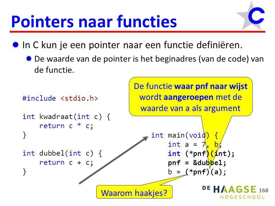 De functie waar pnf naar wijst wordt aangeroepen met de waarde van a als argument 168 Pointers naar functies  In C kun je een pointer naar een functi