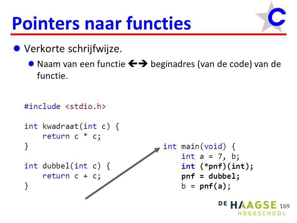 169 Pointers naar functies  Verkorte schrijfwijze.  Naam van een functie  beginadres (van de code) van de functie. #include int kwadraat(int c) {