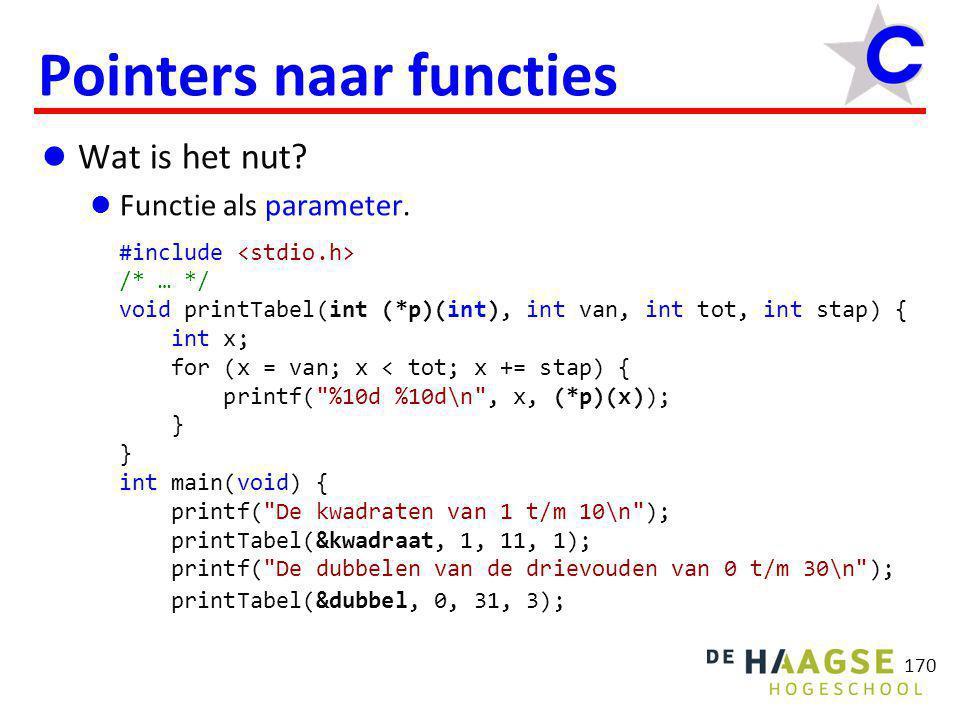 170 Pointers naar functies  Wat is het nut?  Functie als parameter. #include /* … */ void printTabel(int (*p)(int), int van, int tot, int stap) { in