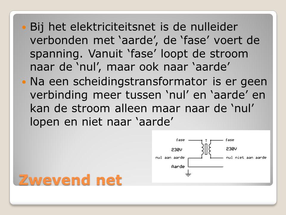 Zwevend net  Bij het elektriciteitsnet is de nulleider verbonden met 'aarde', de 'fase' voert de spanning. Vanuit 'fase' loopt de stroom naar de 'nul