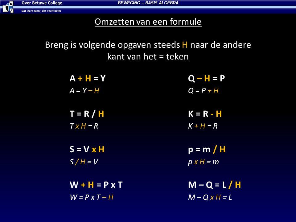 Omzetten van een formule BEWEGING – BASIS ALGEBRA Breng is volgende opgaven steeds H naar de andere kant van het = teken A + H = YQ – H = P A = Y – HQ