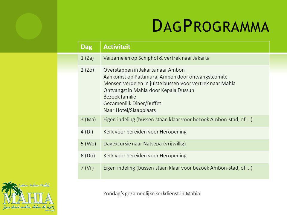 DagActiviteit 1 (Za)Verzamelen op Schiphol & vertrek naar Jakarta 2 (Zo)Overstappen in Jakarta naar Ambon Aankomst op Pattimura, Ambon door ontvangstcomité Mensen verdelen in juiste bussen voor vertrek naar Mahia Ontvangst in Mahia door Kepala Dussun Bezoek familie Gezamenlijk Diner/Buffet Naar Hotel/Slaapplaats 3 (Ma)Eigen indeling (bussen staan klaar voor bezoek Ambon-stad, of...) 4 (Di)Kerk voor bereiden voor Heropening 5 (Wo)Dagexcursie naar Natsepa (vrijwillig) 6 (Do)Kerk voor bereiden voor Heropening 7 (Vr)Eigen indeling (bussen staan klaar voor bezoek Ambon-stad, of...) Zondag's gezamenlijke kerkdienst in Mahia