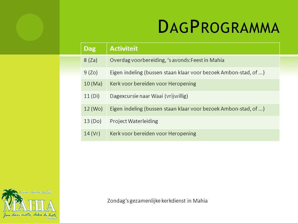 D AG P ROGRAMMA DagActiviteit 8 (Za)Overdag voorbereiding, 's avonds:Feest in Mahia 9 (Zo)Eigen indeling (bussen staan klaar voor bezoek Ambon-stad, of...) 10 (Ma)Kerk voor bereiden voor Heropening 11 (Di)Dagexcursie naar Waai (vrijwillig) 12 (Wo)Eigen indeling (bussen staan klaar voor bezoek Ambon-stad, of...) 13 (Do)Project Waterleiding 14 (Vr)Kerk voor bereiden voor Heropening Zondag's gezamenlijke kerkdienst in Mahia