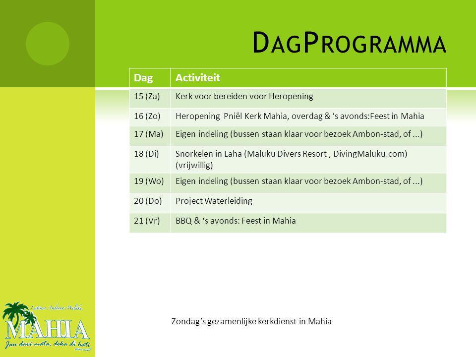 D AG P ROGRAMMA Zondag's gezamenlijke kerkdienst in Mahia DagActiviteit 22 (Za)Overdag voorbereiding, 's avonds:Feest in Mahia 23 (Zo)Eigen indeling (bussen staan klaar voor bezoek Ambon-stad, of...) 24 (Ma)Dagje Saparua/Ceram (vrijwillig) 25 (Di)Eigen indeling (bussen staan klaar voor bezoek Ambon-stad, of...) 26 (Wo)Eigen indeling (bussen staan klaar voor bezoek Ambon-stad, of...) 27 (Do)Eigen indeling (bussen staan klaar voor bezoek Ambon-stad, of...) 28 (Vr)Verzamelen in Mahia & vertrek naar Pattimura Airport 29 (Za)Terug op Schiphol