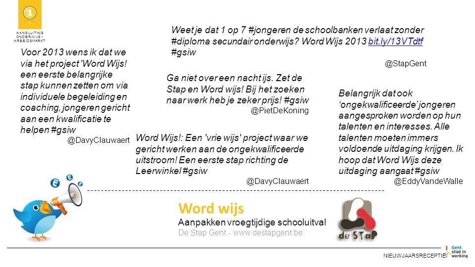 AANSLUITING ONDERWIJS - ARBEIDSMARKT Word wijs Aanpakken vroegtijdige schooluitval De Stap Gent - www.destapgent.be NIEUWJAARSRECEPTIE Voor 2013 wens ik dat we via het project Word Wijs.