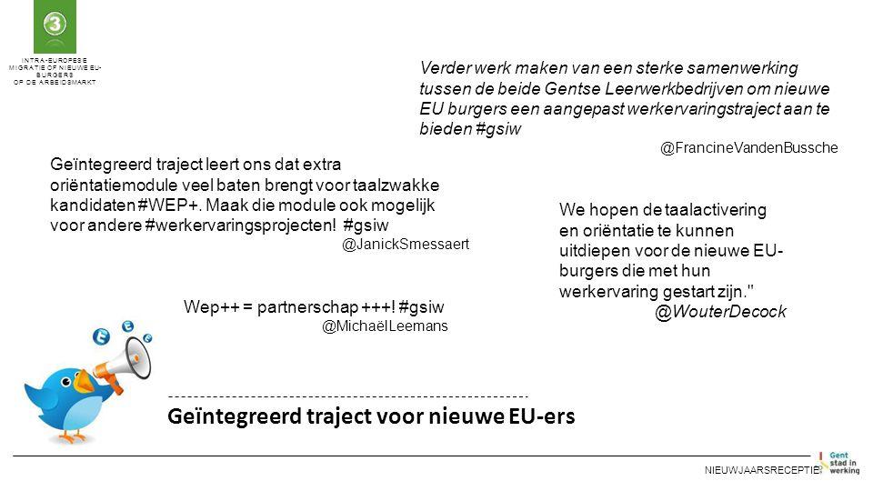 INTRA-EUROPESE MIGRATIE OF NIEUWE EU- BURGERS OP DE ARBEIDSMARKT Geïntegreerd traject voor nieuwe EU-ers NIEUWJAARSRECEPTIE Verder werk maken van een sterke samenwerking tussen de beide Gentse Leerwerkbedrijven om nieuwe EU burgers een aangepast werkervaringstraject aan te bieden #gsiw @FrancineVandenBussche Geïntegreerd traject leert ons dat extra oriëntatiemodule veel baten brengt voor taalzwakke kandidaten #WEP+.