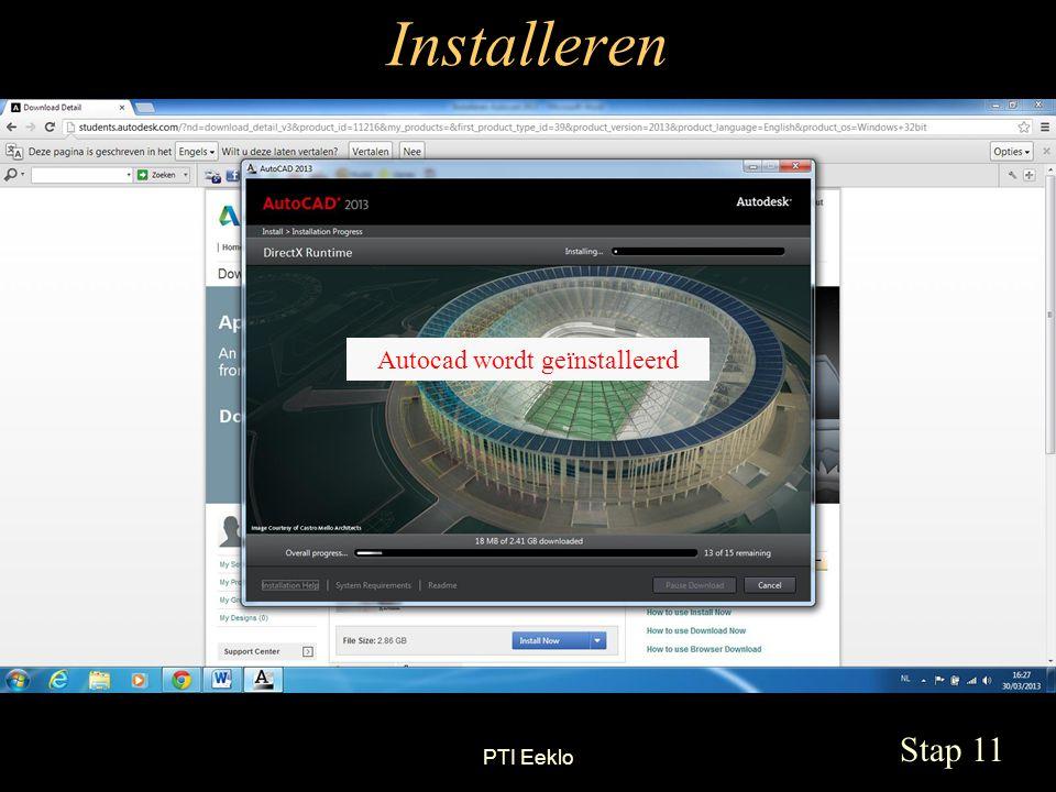 PTI Eeklo Installeren Stap 11 Autocad wordt geïnstalleerd