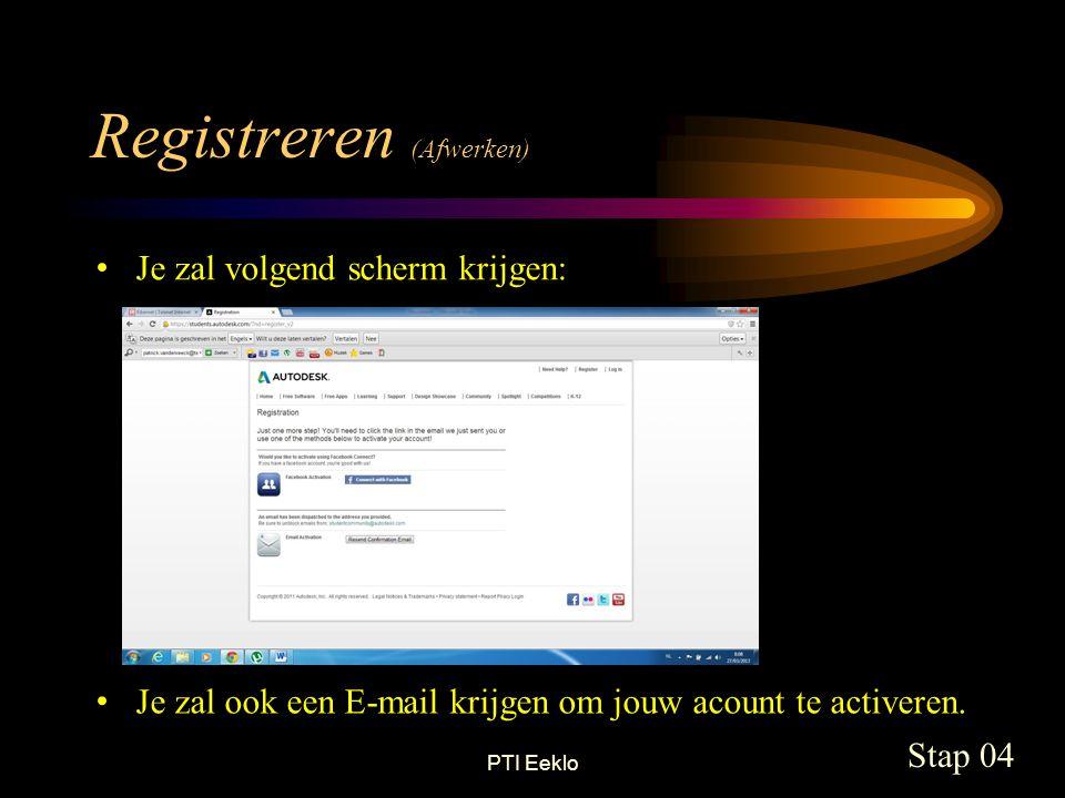 PTI Eeklo • Je zal volgend scherm krijgen: Registreren (Afwerken) Stap 04 • Je zal ook een E-mail krijgen om jouw acount te activeren.