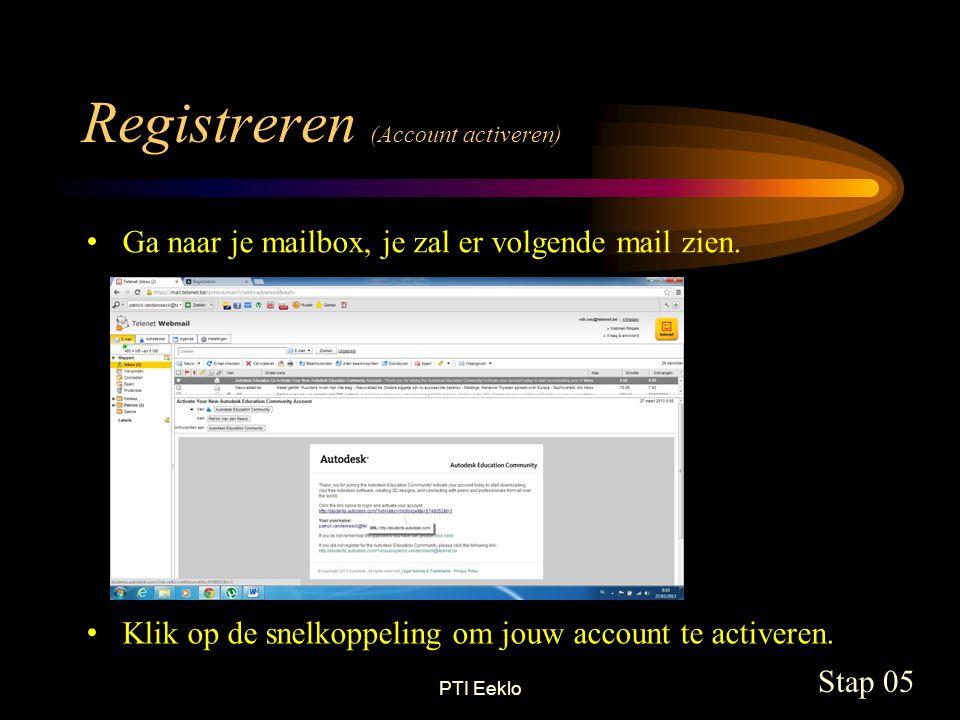 PTI Eeklo Downloaden (inloggen) Stap 06 Emailadres ingeven Inloggen Paswoord ingeven