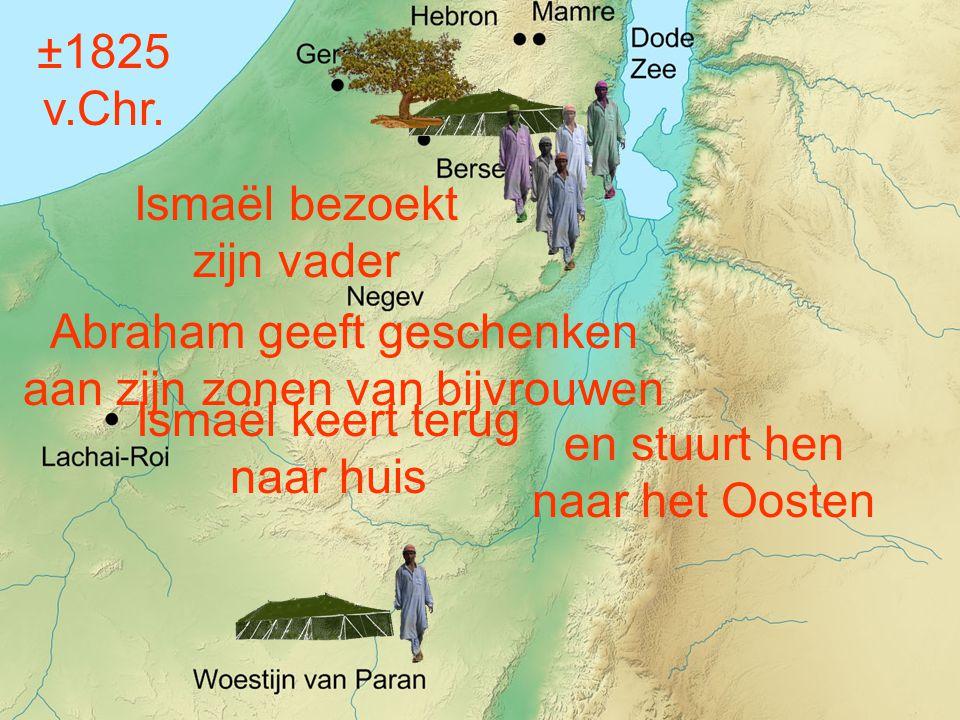Abraham geeft geschenken aan zijn zonen van bijvrouwen en stuurt hen naar het Oosten ±1825 v.Chr.