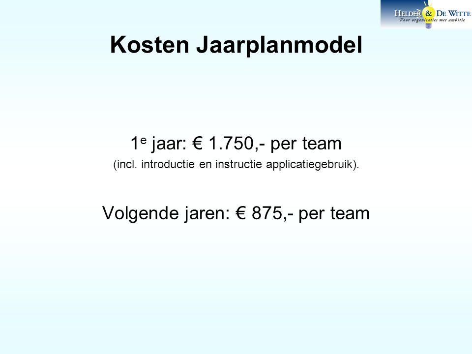 Kosten Jaarplanmodel 1 e jaar: € 1.750,- per team (incl. introductie en instructie applicatiegebruik). Volgende jaren: € 875,- per team