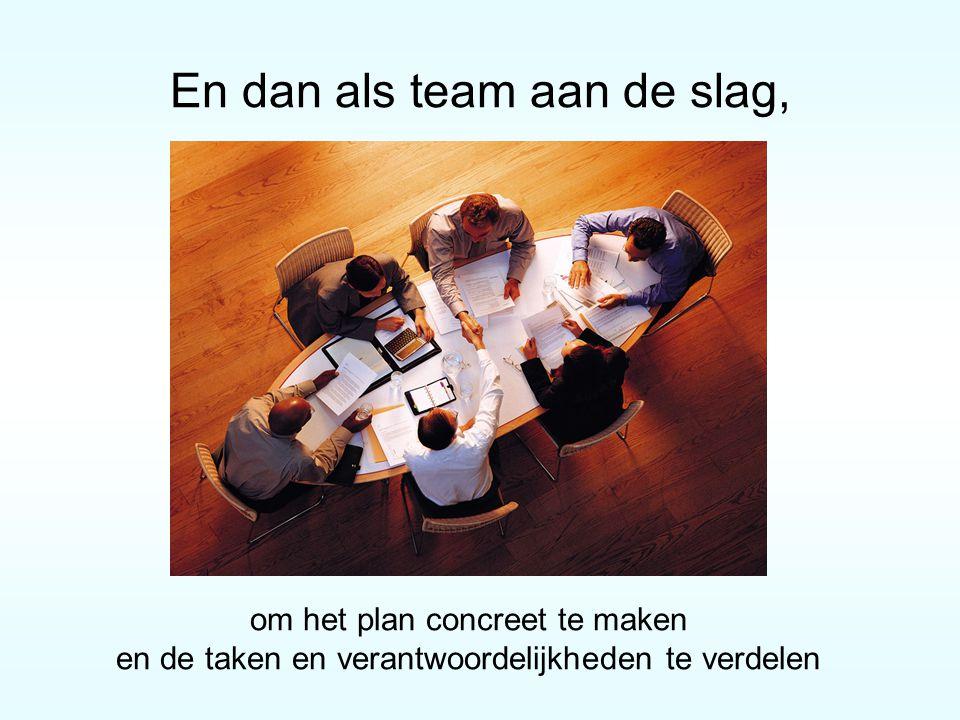 En dan als team aan de slag, om het plan concreet te maken en de taken en verantwoordelijkheden te verdelen
