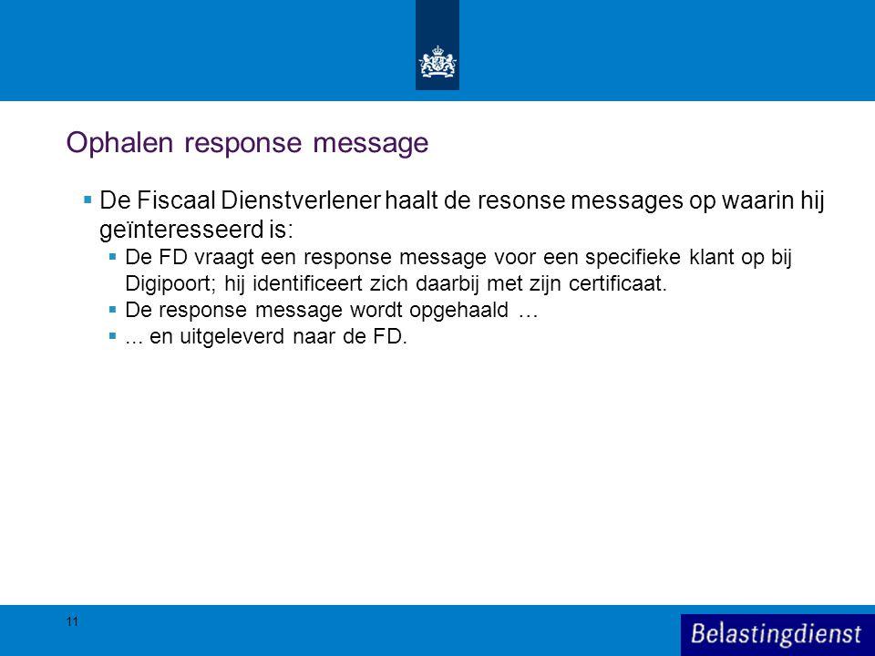 Ophalen response message  De Fiscaal Dienstverlener haalt de resonse messages op waarin hij geïnteresseerd is:  De FD vraagt een response message vo
