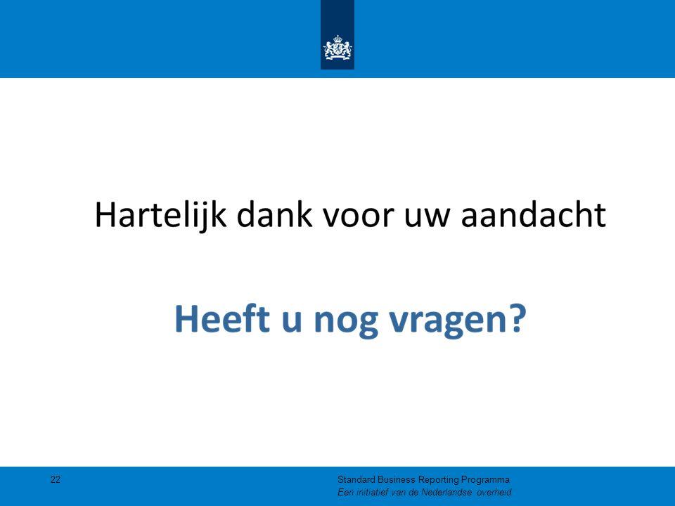 22Standard Business Reporting Programma Een initiatief van de Nederlandse overheid