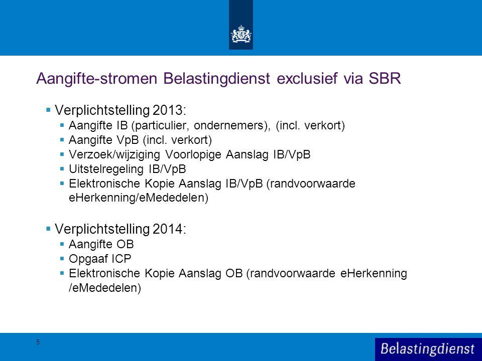 5 Aangifte-stromen Belastingdienst exclusief via SBR  Verplichtstelling 2013:  Aangifte IB (particulier, ondernemers), (incl. verkort)  Aangifte Vp
