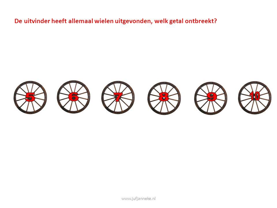 De uitvinder heeft allemaal wielen uitgevonden, welk getal ontbreekt?