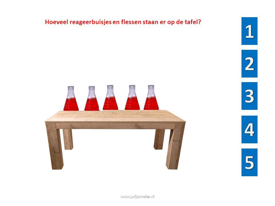 www.jufjanneke.nl Waar staan de reageerbuizen goed op een rij van vol naar bijna leeg?