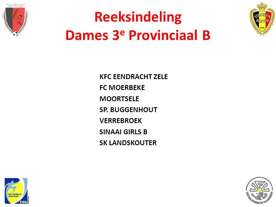 Reeksindeling Dames 3 e Provinciaal B KFC EENDRACHT ZELE FC MOERBEKE MOORTSELE SP. BUGGENHOUT VERREBROEK SINAAI GIRLS B SK LANDSKOUTER