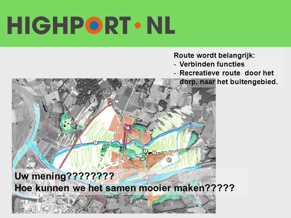 Route wordt belangrijk: -Verbinden functies -Recreatieve route door het dorp, naar het buitengebied. Uw mening???????? Hoe kunnen we het samen mooier