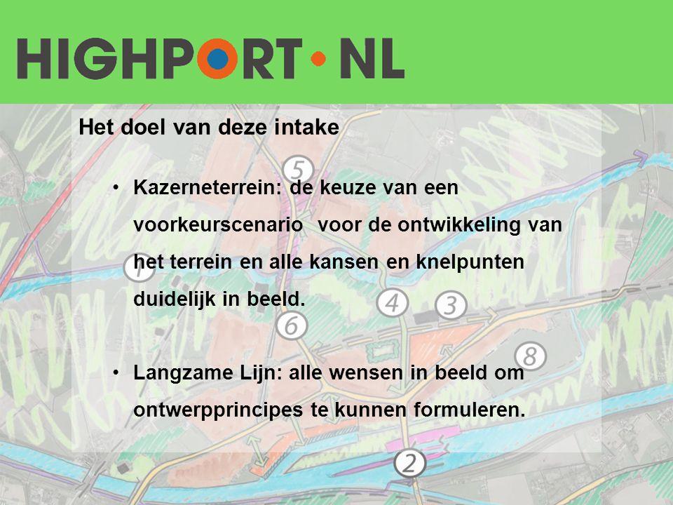 Langzame Lijn, route van 't Hart via kazerneterrein naar de sluis Hoe vorm te geven.