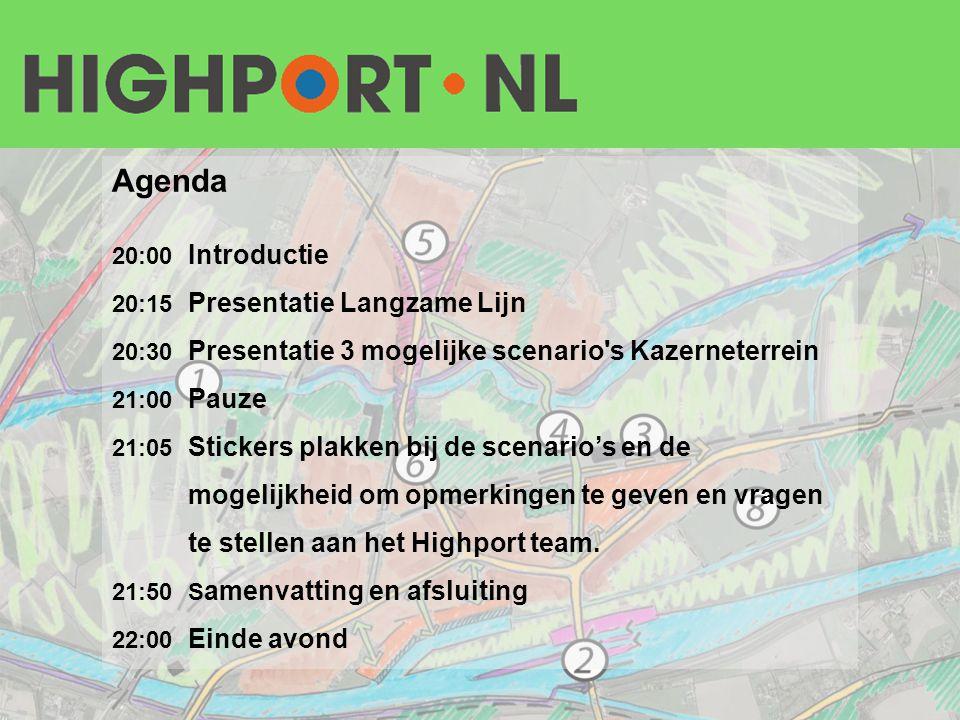 Agenda 20:00 Introductie 20:15 Presentatie Langzame Lijn 20:30 Presentatie 3 mogelijke scenario's Kazerneterrein 21:00 Pauze 21:05 Stickers plakken bi