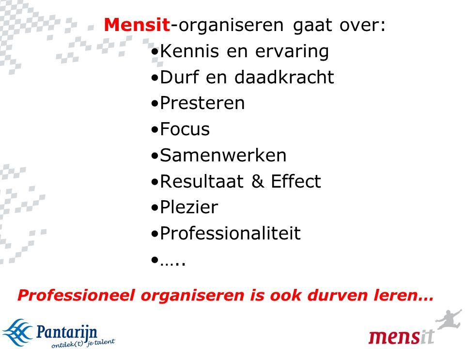 7 Professioneel organiseren is ook durven leren… Mensit-organiseren gaat over: •Kennis en ervaring •Durf en daadkracht •Presteren •Focus •Samenwerken