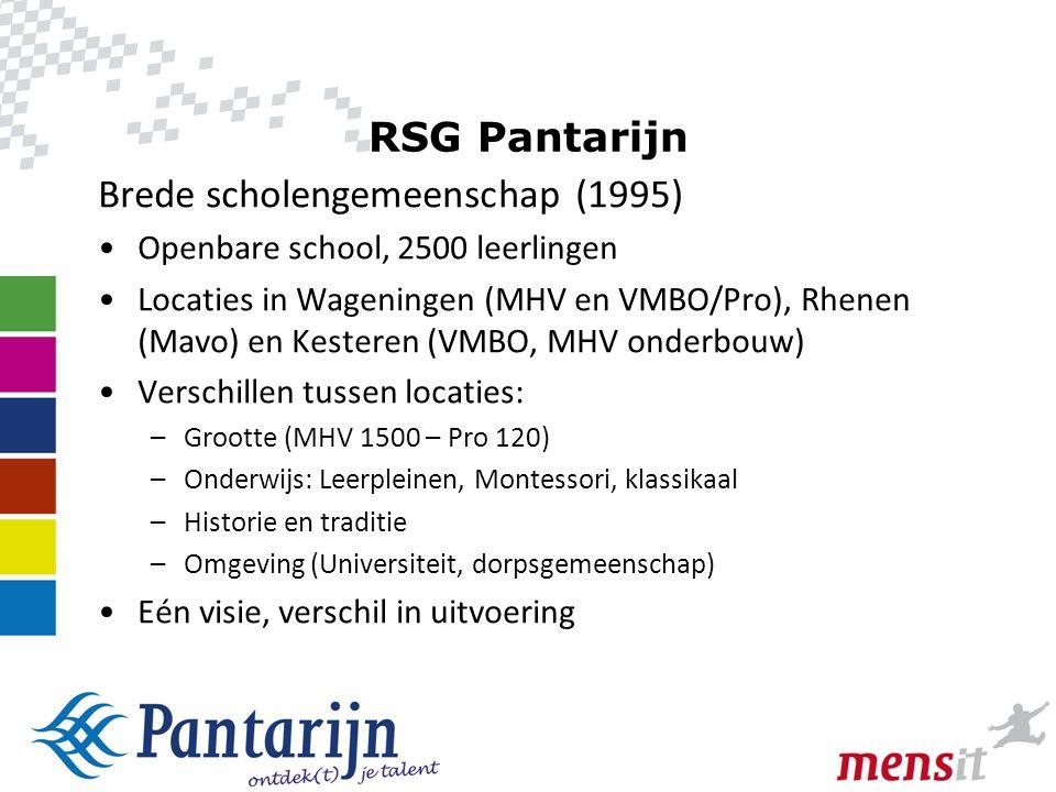 8 RSG Pantarijn Brede scholengemeenschap (1995) •Openbare school, 2500 leerlingen •Locaties in Wageningen (MHV en VMBO/Pro), Rhenen (Mavo) en Kesteren