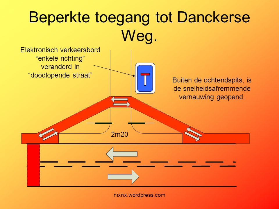 nixnx.wordpress.com Beperkte toegang tot Danckerse Weg. Buiten de ochtendspits, is de snelheidsafremmende vernauwing geopend. 2m20 Elektronisch verkee