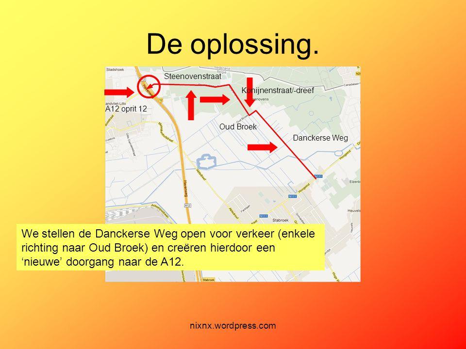 nixnx.wordpress.com De oplossing. We stellen de Danckerse Weg open voor verkeer (enkele richting naar Oud Broek) en creëren hierdoor een 'nieuwe' door