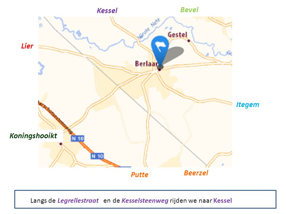 Kessel Bevel Itegem Putte Beerzel Koningshooikt Lier Langs de Legrellestraat en de Kesselsteenweg rijden we naar Kessel