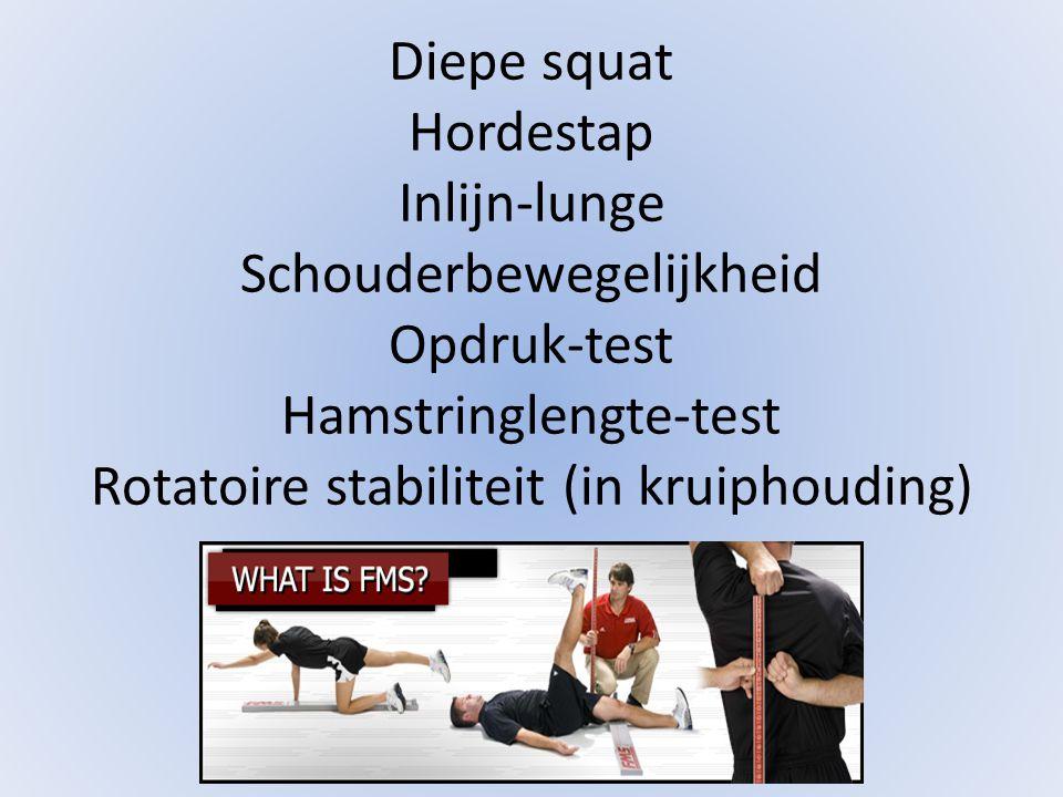 Diepe squat Hordestap Inlijn-lunge Schouderbewegelijkheid Opdruk-test Hamstringlengte-test Rotatoire stabiliteit (in kruiphouding)